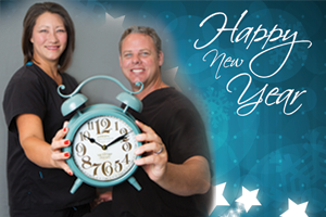 Dentists at Cobblestone Park Family Dentistry wishing their patients a happy New Year
